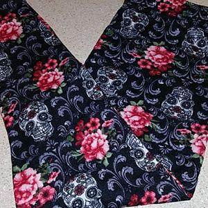 Fleece lined leggings with sugar skull floral desi